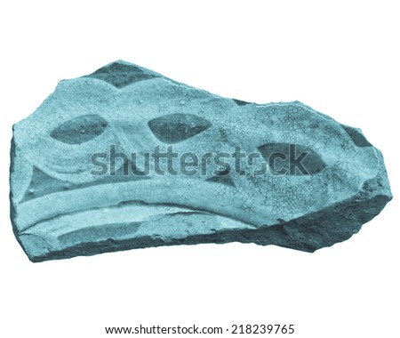 An archeological sherd fragment of ancient Greek pottery - cool cyanotype - stock photo