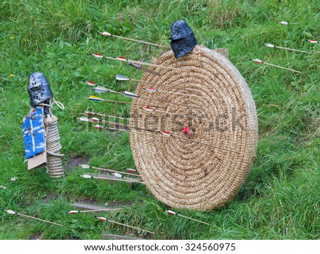 An archery target peppered by arrows - stock photo