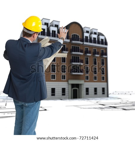 An architect, blueprints and an old classical urban building on the background - stock photo