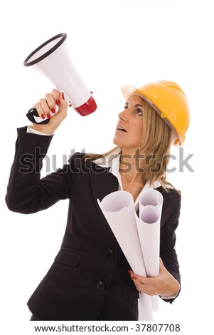 An architect giving orders with a megaphone - stock photo