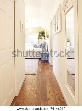 An architectural shot of a bedroom - stock photo