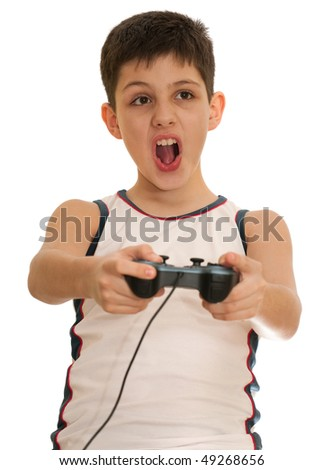 An ardor boy is playing a computer game; isolated on the white background - stock photo