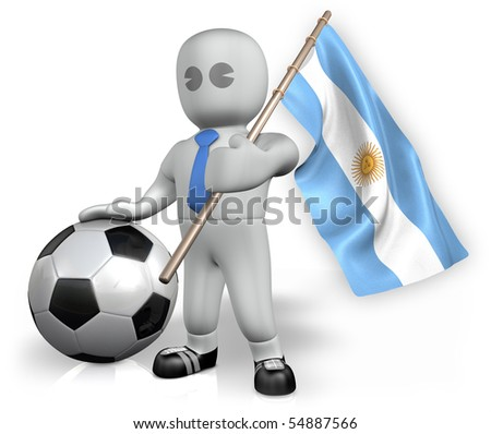 An Argentina football fan with a flag and a ball - stock photo