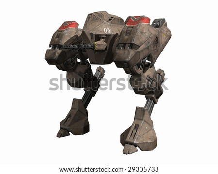 An armored mechanical fighting vehicle, 3d digitally rendered illustration