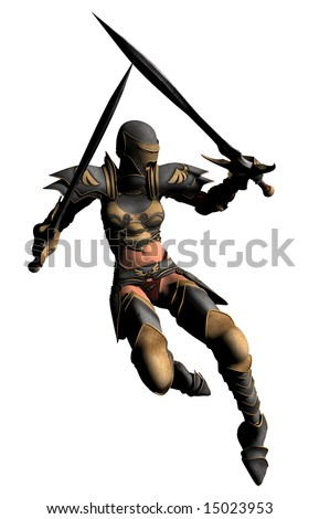 An armoured swordswoman with twin swords leaps to attack.... - stock photo