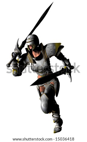 An armoured swordswoman with twin swords runs to the attack... - stock photo