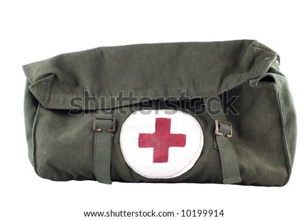 An army supply medical bag isolated on white background