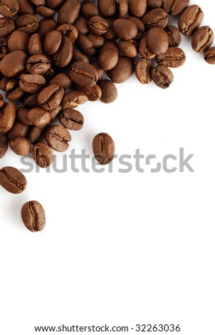 an arrangement of coffee beans on a white background - stock photo