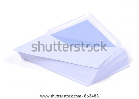 an arrangement of envelopes - isolated on white background (CLIPPING PATH)