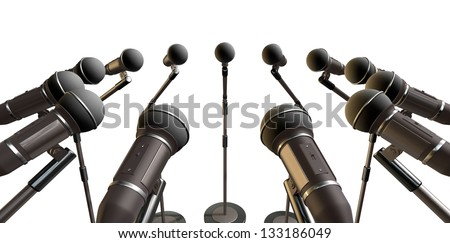 An array of black plastic and foam microphones on stands facing inwards on an isolated background