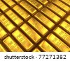An array of gold bars - stock photo