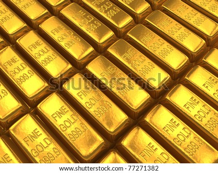 An array of gold bars