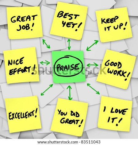 An array of yellow sticky notes with words of positive praise, reviews and commentary based on someone's performance and accomplishments - stock photo
