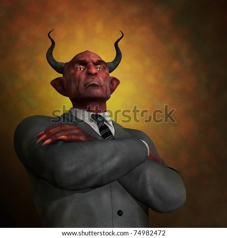 An arrogant ruthless demon in business attire - 3D render with digital painting. - stock photo