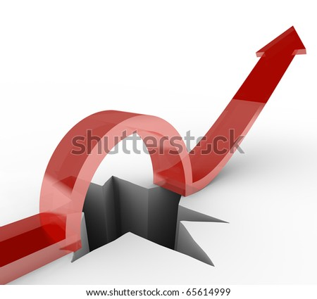 An arrow jumps over a hole to reach new heights - stock photo