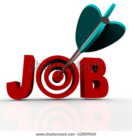 An arrow makes a direct hit in the word Job - stock photo