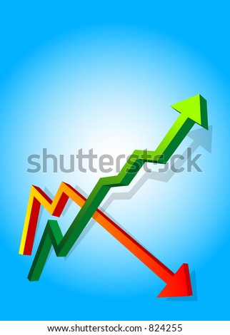 An arrow pointing up and down of a graph rendered in 3D - stock photo