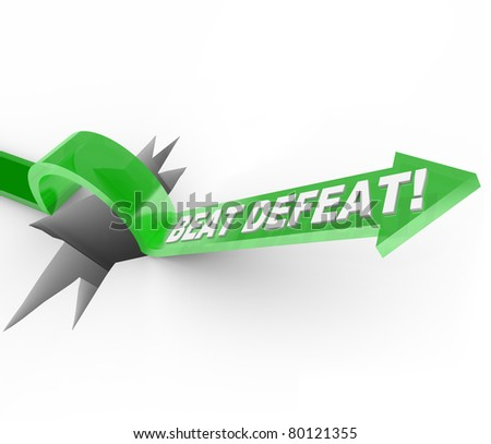 An arrow with the words Beat Defeat jumps over a large crack in the ground symbolizing a major obstacle or challenge and the determination and motivation to jump over it and achieve success - stock photo