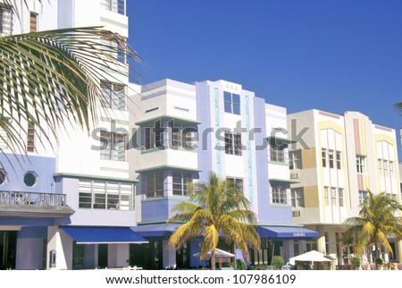 An Art-Deco District south beach neighborhood, Miami, Florida - stock photo