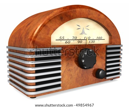 An art-deco style radio with antique styling isolated on a white background - stock photo