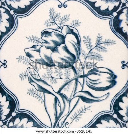 An Art Nouveau original tile dating around 1890 with tulip flower design - stock photo