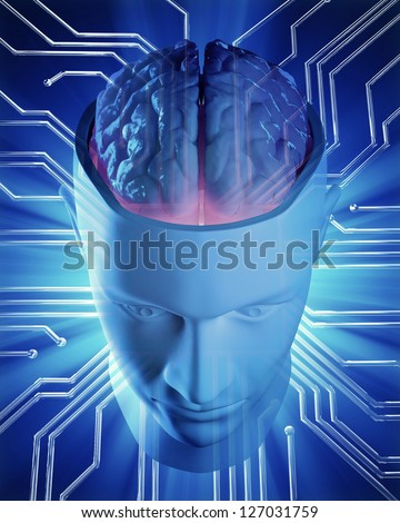 An artificial intelligence concept illustration - stock photo