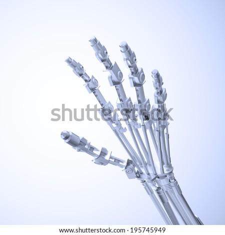 An artificial limb - prosthetics  and robotics technology concept - stock photo