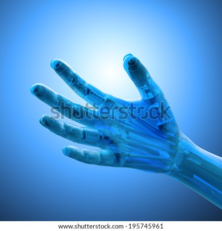 An artificial limb - prosthetics  and robotics technology concept - stock photo