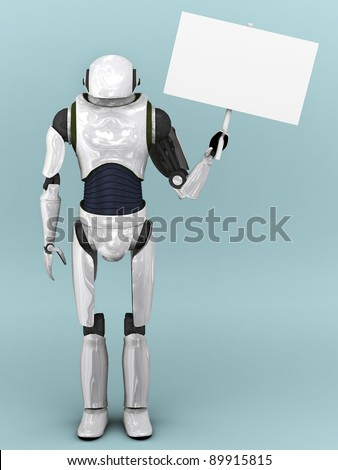 An artificial robot holding a blank sign.