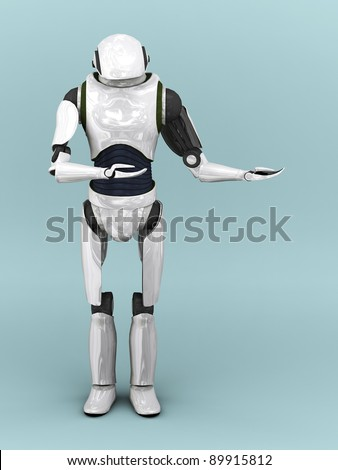 An artificial robot holding his arms like he is presenting something.