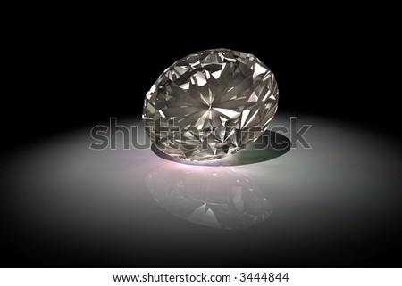 an artificially rendered diamond (no brilliant cut)