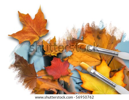 An artist is painting colorful fall leaves on a white background canvas with paint brushes. One leaf is popping out. Can represent a season or nature concept. - stock photo
