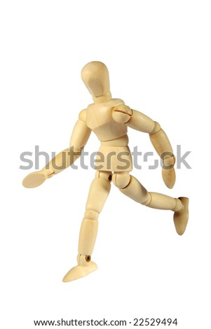 An artist mannequin in a running pose against a white background