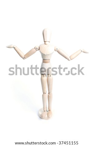 An artist mannequin isolated on a white background