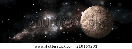 An artist's depiction of  a heavily cratered moon alone in deep space . A nebula of stars and gas provide a backdrop. Elements of this image furnished by NASA - stock photo