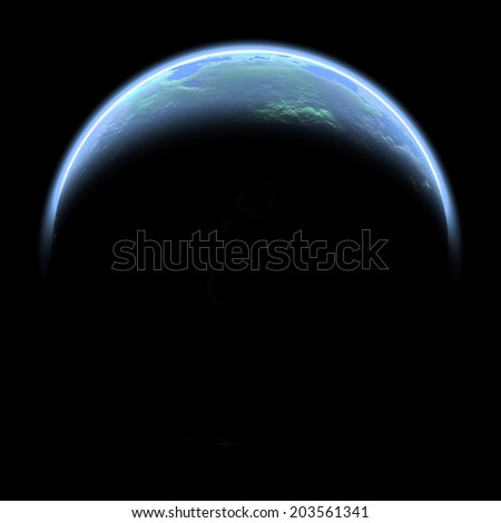 An artist's depiction of a water covered world in deep space illuminated by a it's parent star. - stock photo
