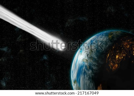 An artist's depiction of  an inhabited Earth-like planet facing an imminent collision with a comet. The night-side of the planet glows with city lights. Elements of this image furnished by NASA. - stock photo