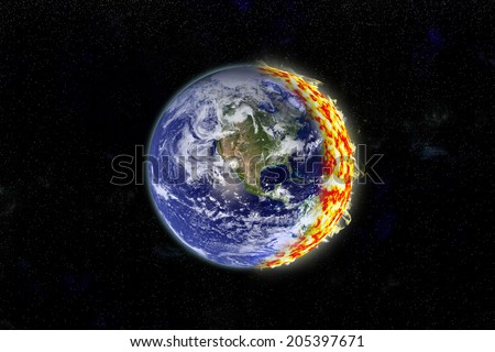 An artist's depiction of the Earth on fire. Some elements courtesy of NASA. - stock photo