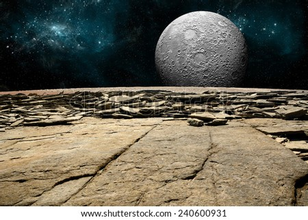 An artist's depiction of  the view from a rocky and barren alien world. A large cratered moon rises over the airless environment. Elements of this image furnished by NASA - stock photo