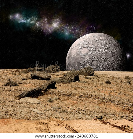 An artist's depiction of  the view from a rocky and barren alien world. A moon rises over the airless environment. Elements of this image furnished by NASA. - stock photo