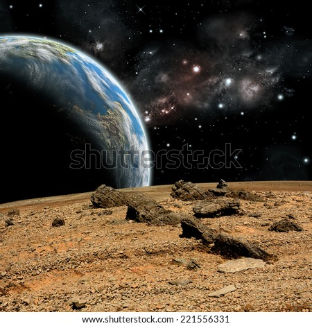 An artist's depiction of  the view from a rocky and barren alien world. An Earth-like rises over the airless environment.
