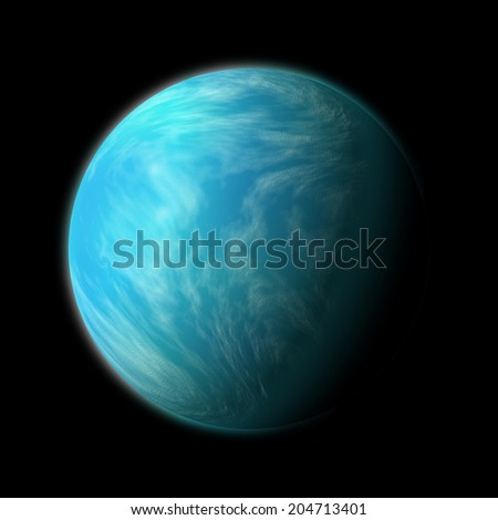 an artist's illustration of Kepler 22b. A planet within the habitable zone of a type G star about 600 light years from Earth in the constellation Cygnus. - stock photo