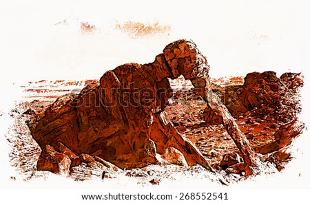 An artistic rendition of Elephant Rock in Valley of Fire State Park, Nevada. - stock photo