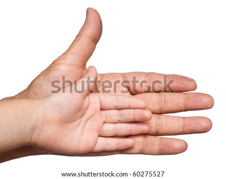 An Asian child's hand against an adults. Isolated on white - stock photo