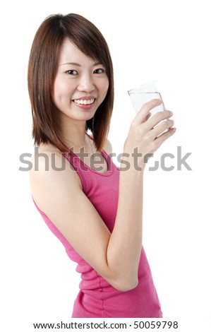 an asian girl drinking plain water with white background - stock photo