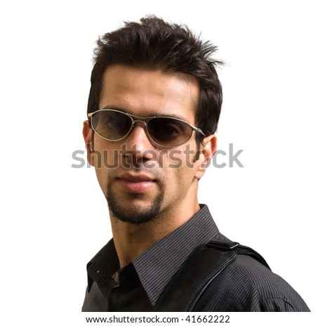 An Asian / Indian young man with attitude - isolated in white - stock photo