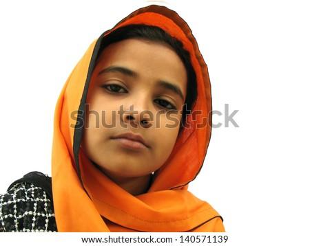An asian muslim female in sad mood - stock photo