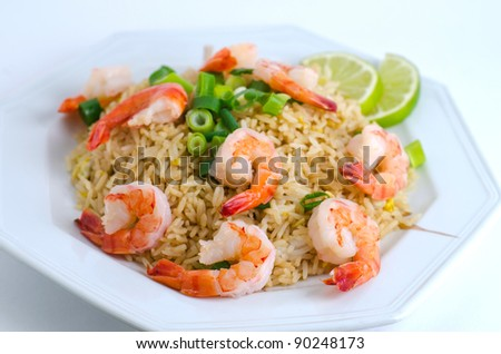 An asian style fried rice with shrimp - stock photo