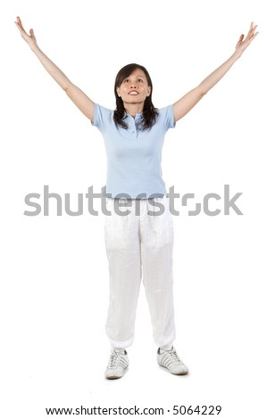 An Asian woman peforming some gentle exercises in the studio on white background - stock photo