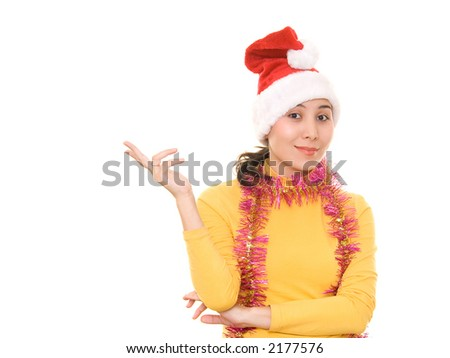 An asian young woman in christmas hat - stock photo